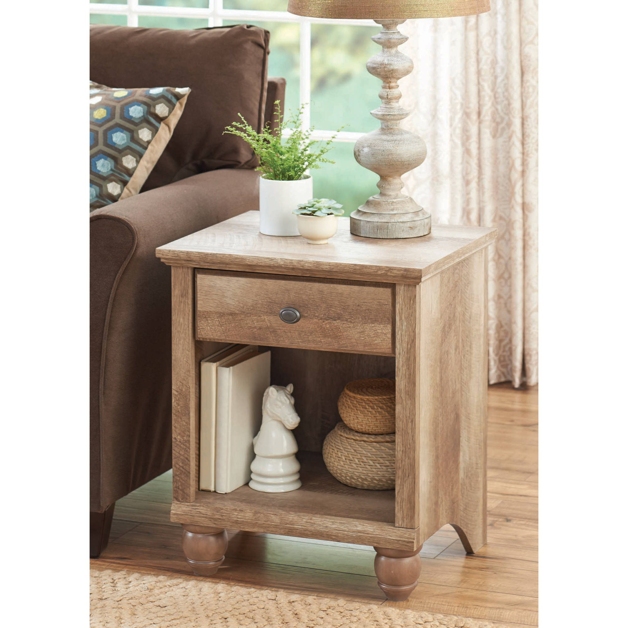 Picture 2 of 6. Better Homes and Gardens Crossmill Collection End Table Weathered