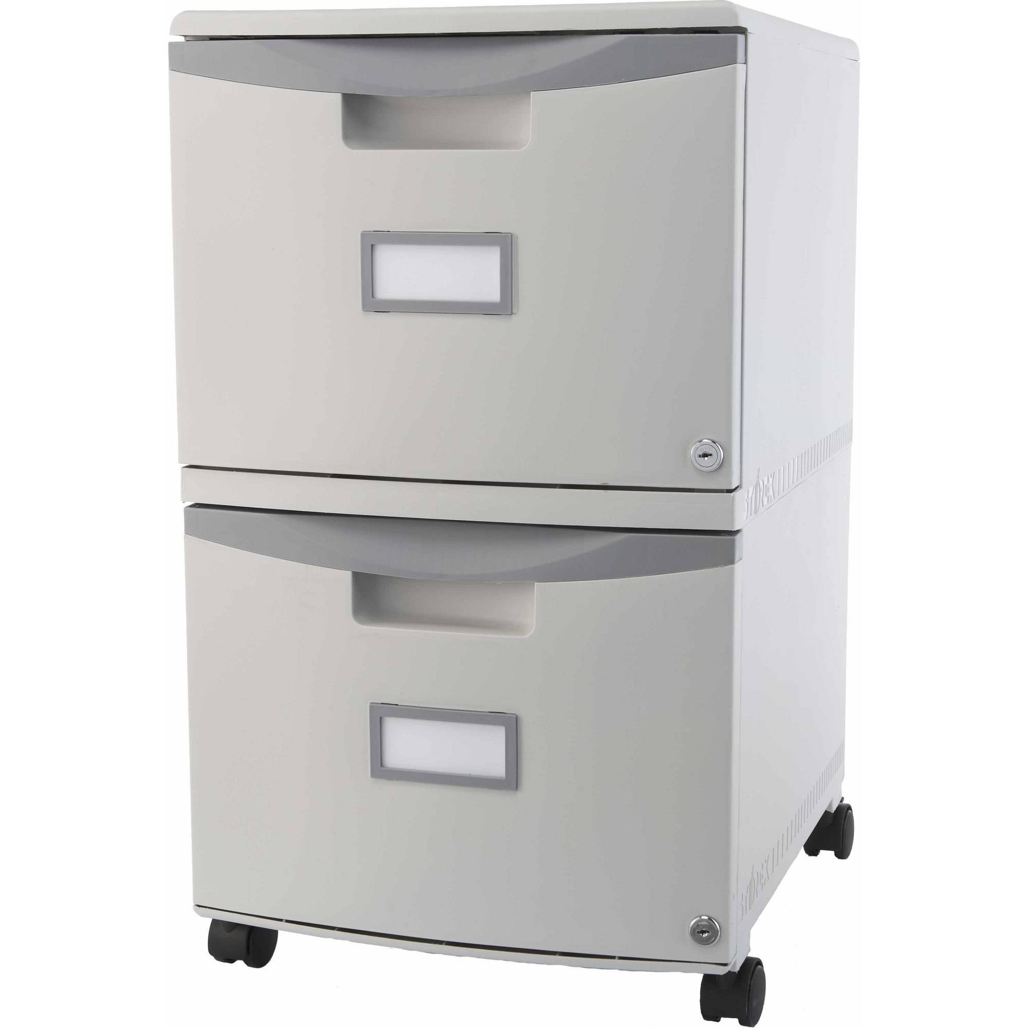 Storex 2 Drawer Mobile File Cabinet With Lock And Casters, Legal/Letter, ...