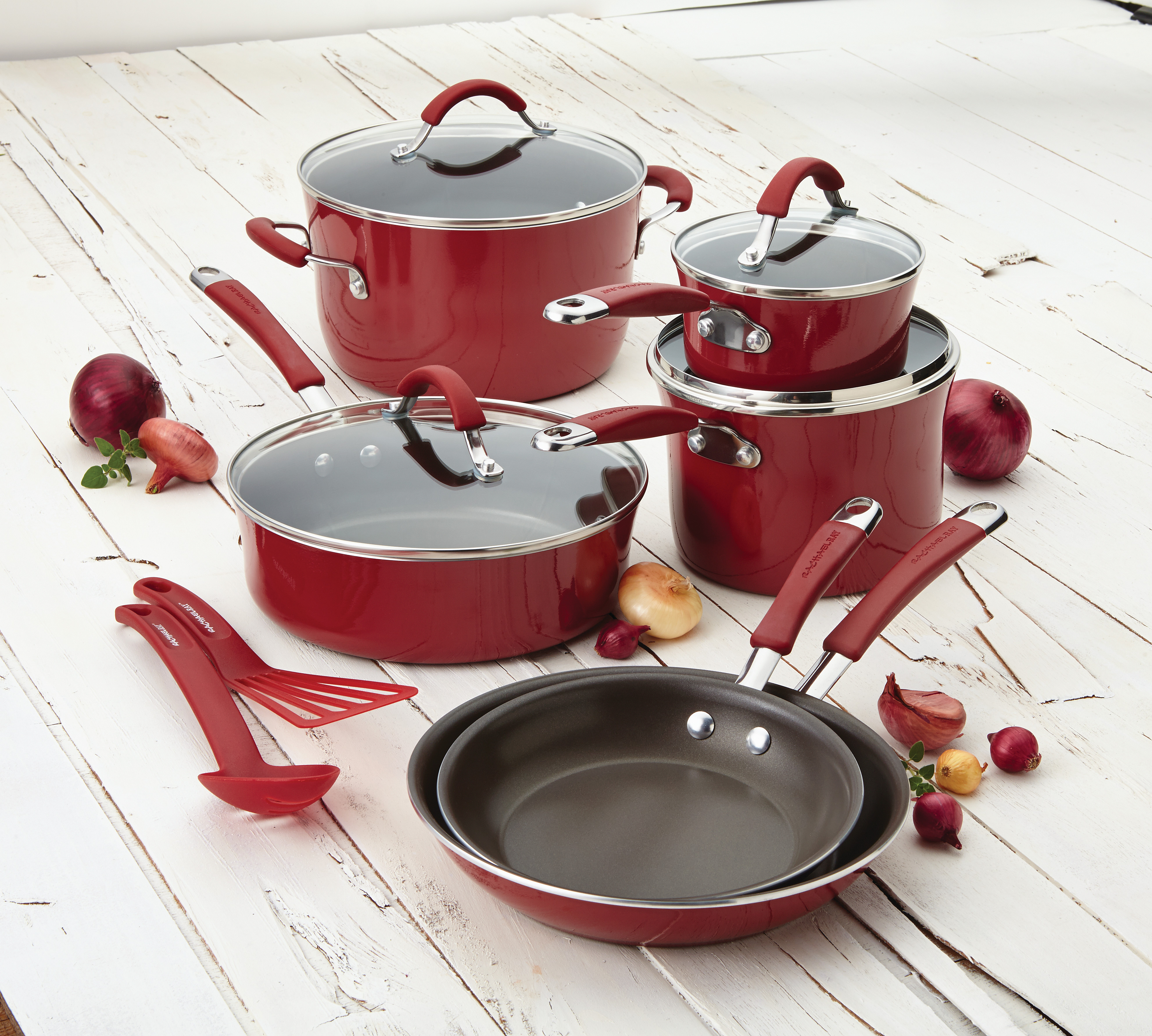 Rachael Ray CUCINA Hard Enamel Nonstick 12-piece Cookware Set | eBay