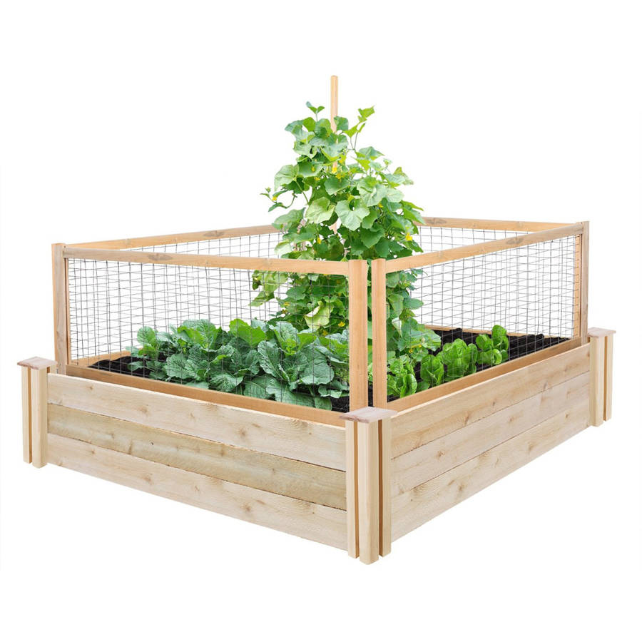 Details About Greenes Fence 4 X 10 5 Cedar Raised Garden Bed With Critterguard S