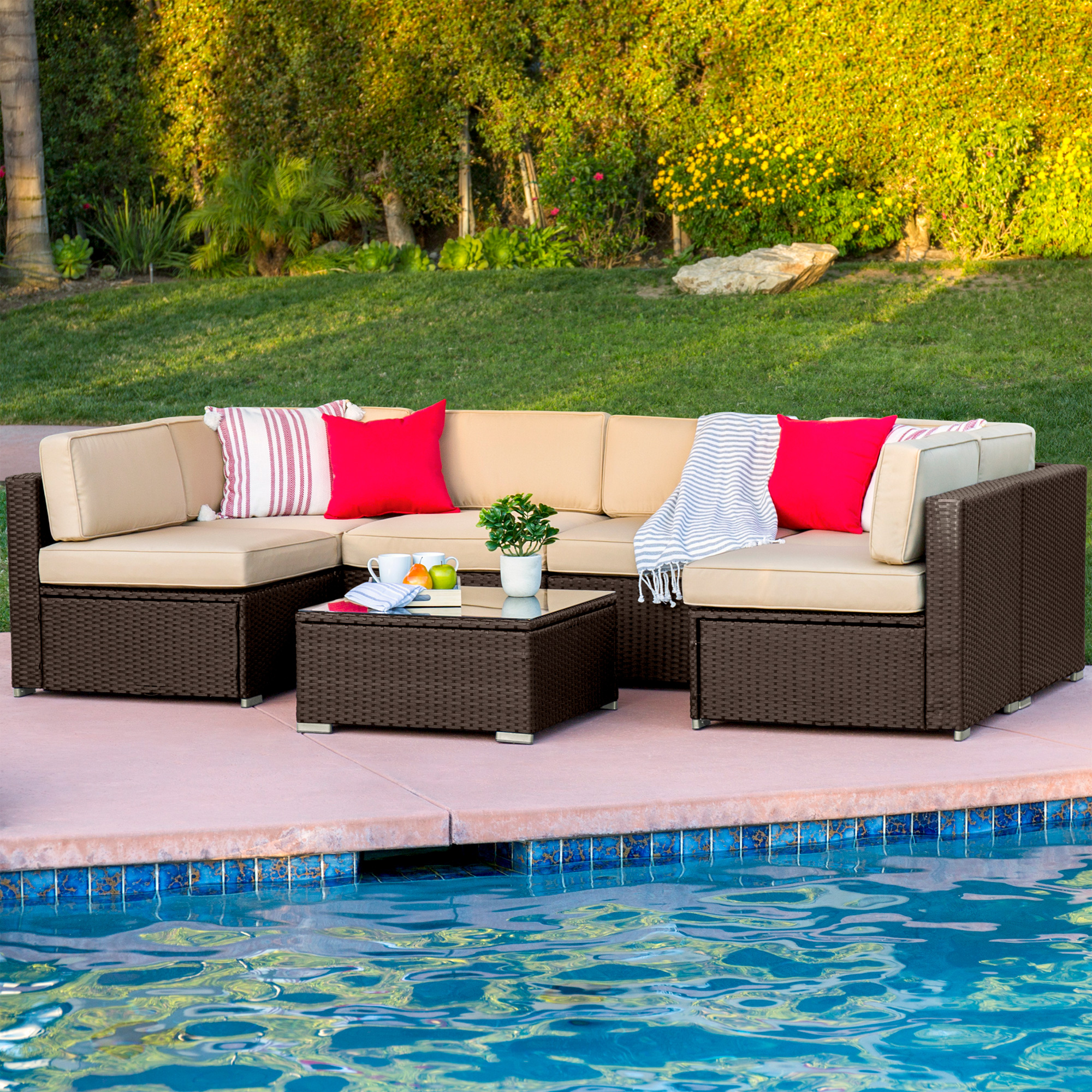 Best Choice Products 7-Piece Modular Outdoor Patio Rattan Wicker ...