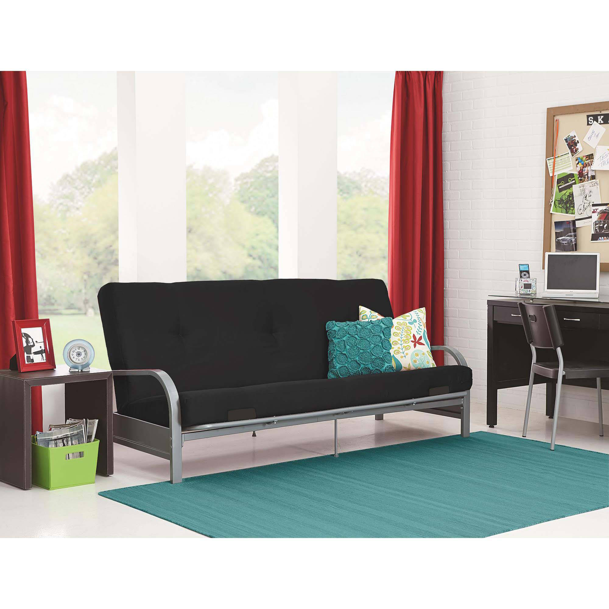 Image Is Loading Mainstays Silver Metal Arm Futon Frame With Full
