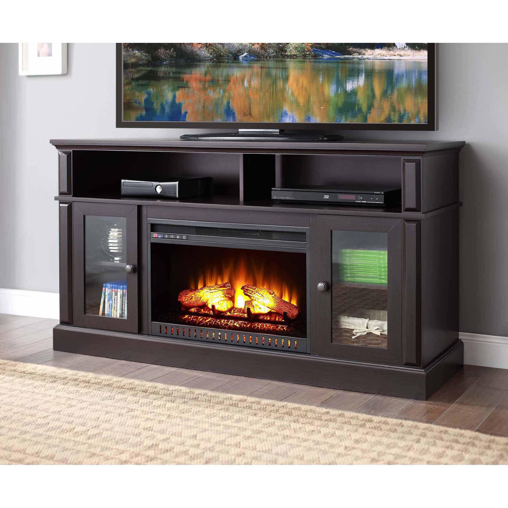 rustic by furniture tv electric xl doors stand ashley veneer with products mesh design wire fireplace mango insert cheap stands