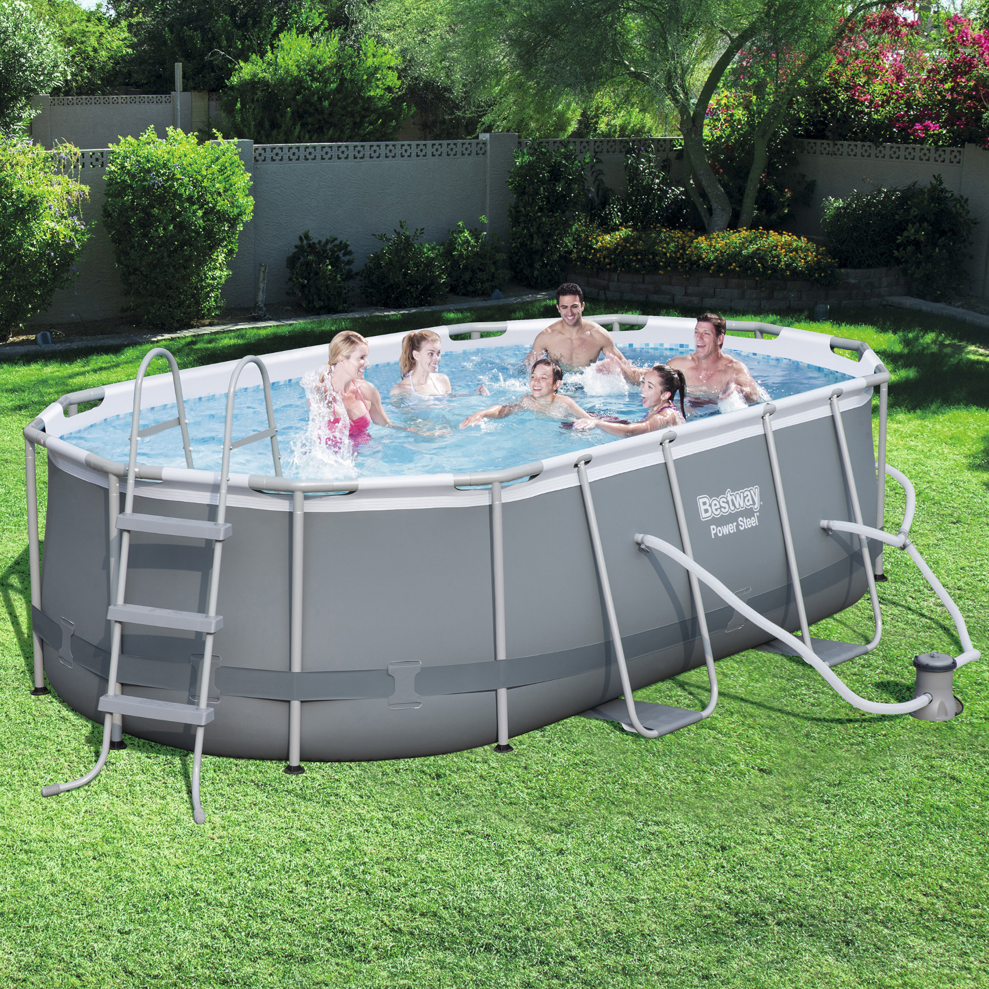 Details about Swimming Pool Set Steel Ladder Filter Pump Durable Above  Ground Oval Frame Large