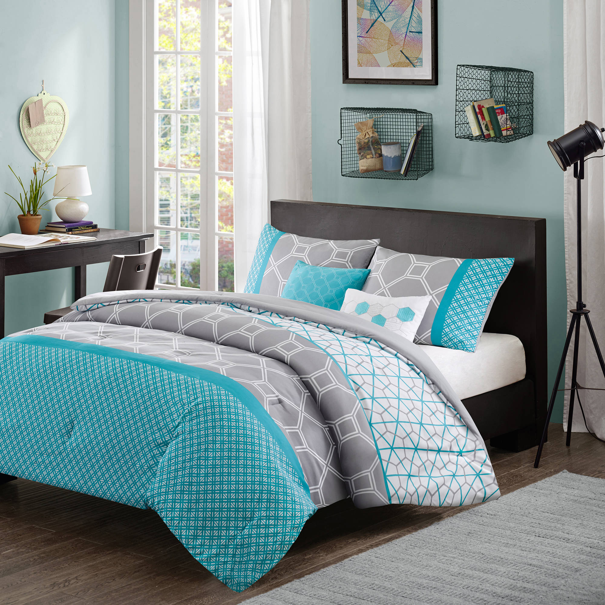 Attrayant Comforter Bedroom 5 Piece Queen Bedding Aqua Blue Grey Set Winter Bed Sheet  Sets