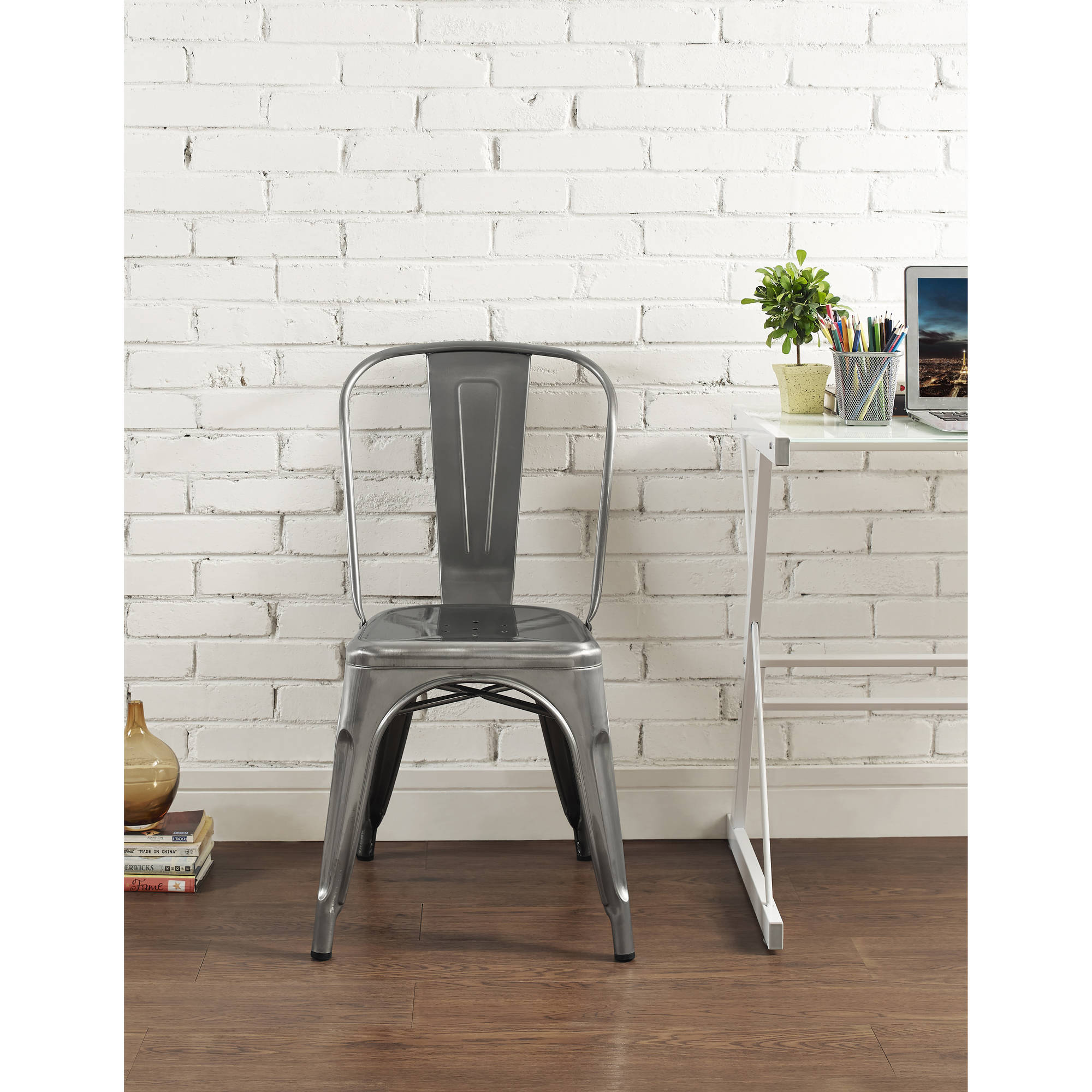 Walker Edison Metal Cafe Chair Wrought Iron Dining Chairs In Gun EBay - Metal cafe table and chairs