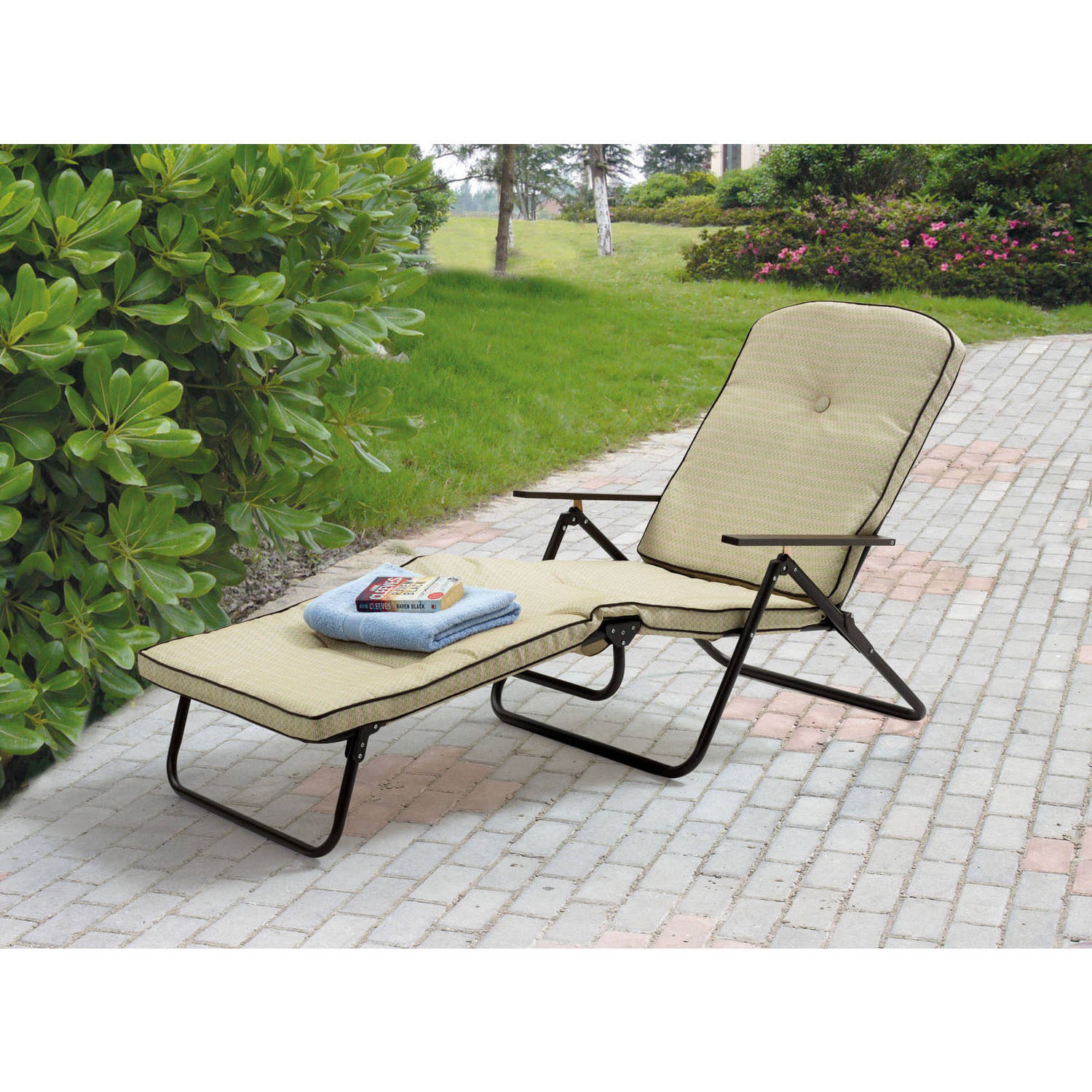 Details About Mainstays Sand Dune Outdoor Padded Folding Chaise Lounge Tan