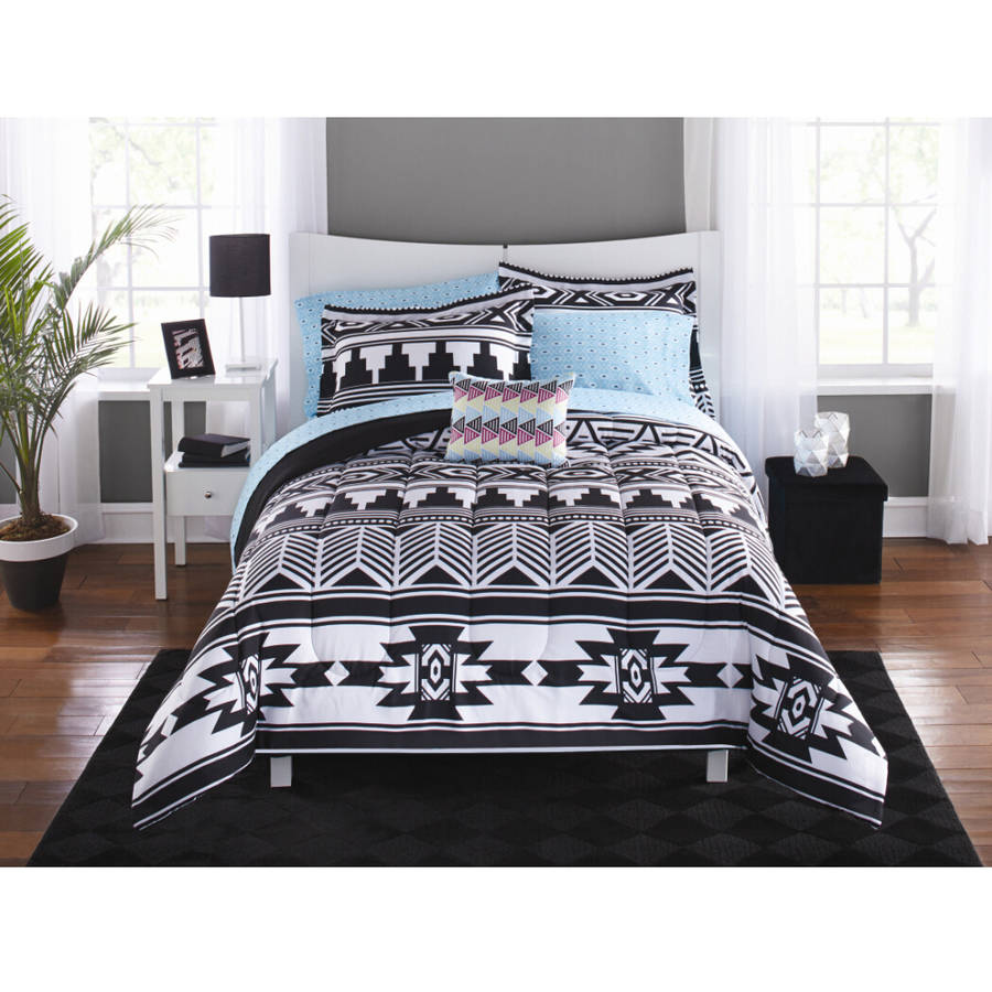 Mainstays Tribal Black And White Bed In A Bag Bedding Set