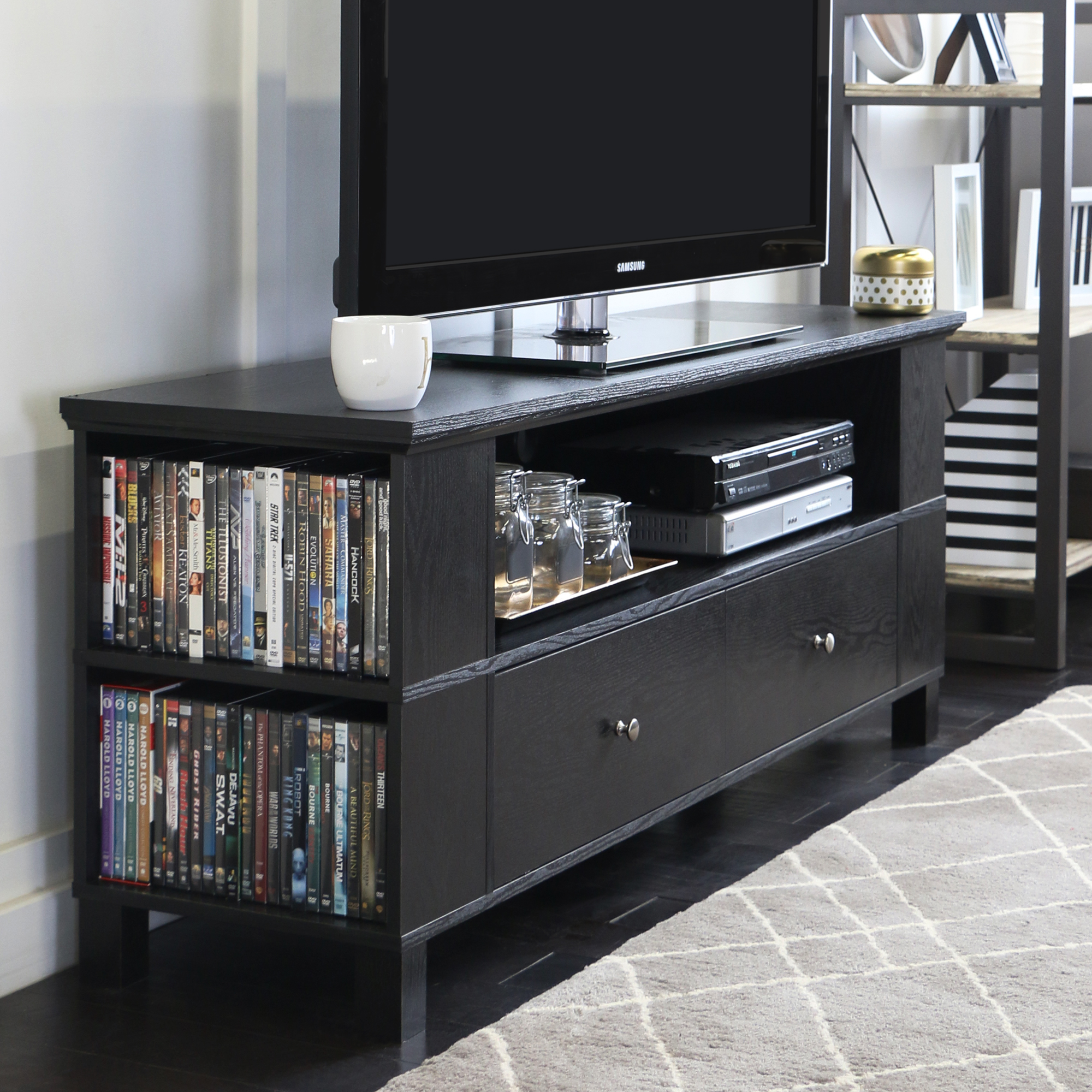 We Furniture Black Tv Stand For Tvs Up To 60 Ebay