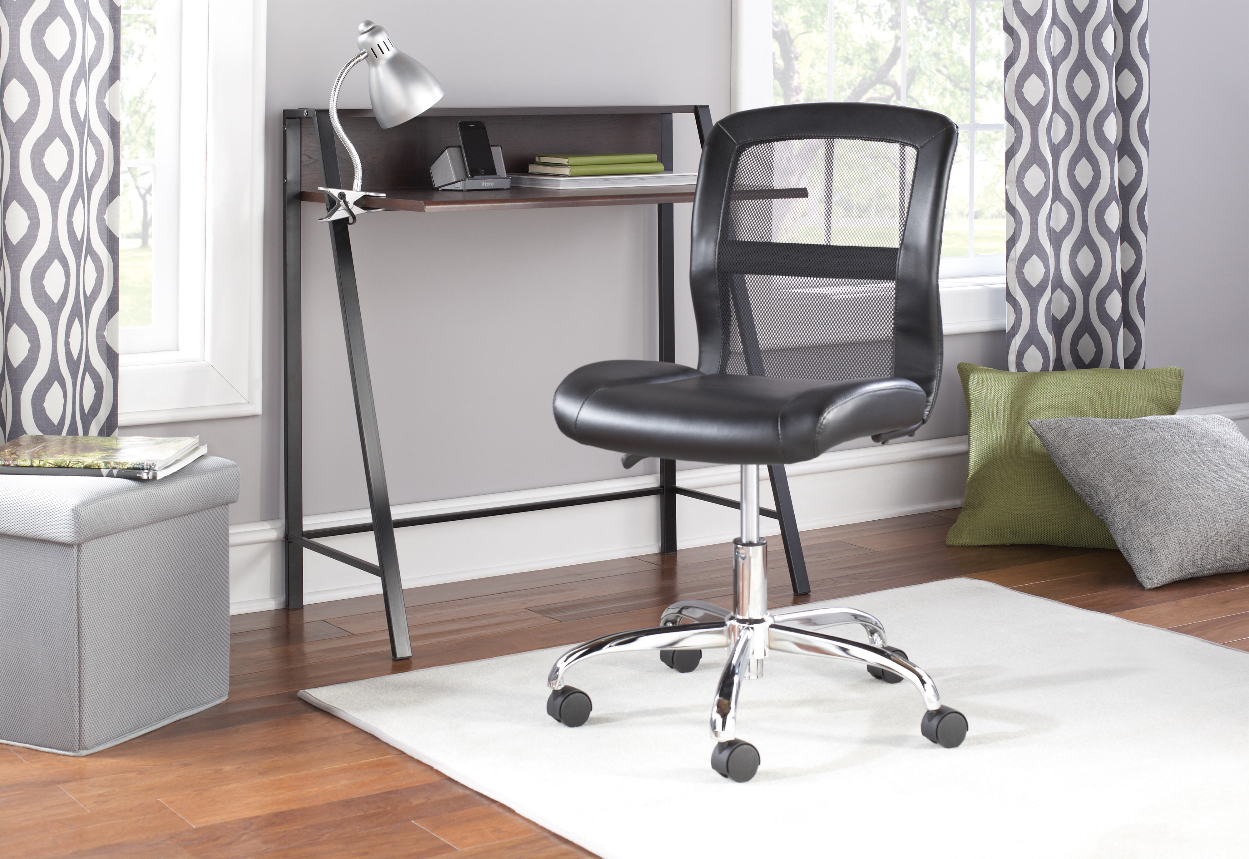 Mainstays Vinyl and Mesh Task Chair Multiple Colors Black