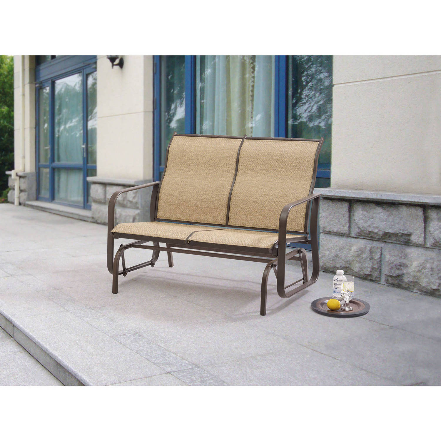 2 Seat Sling Glider Tan Bench Chair Swing Outdoor Patio Porch Rocker