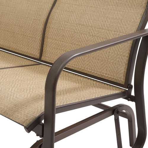 2 Seat Sling Glider Tan Bench Chair Swing Outdoor Patio
