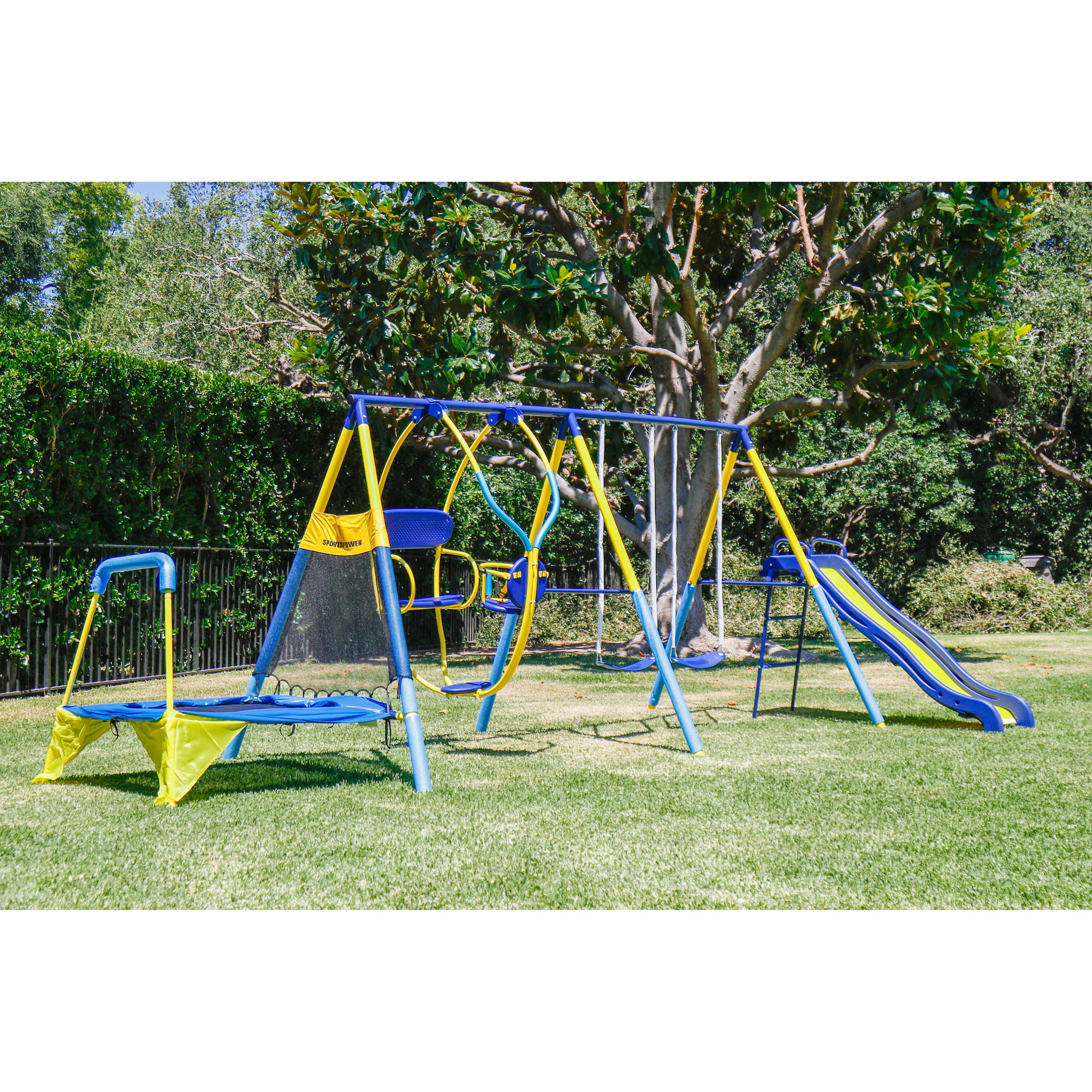 Kids Playground Set Outdoor Swing Slide W Trampoline Backyard