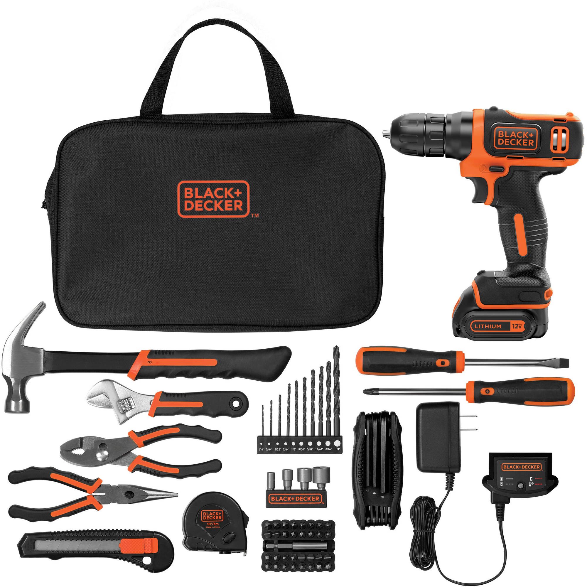 Black & decker rechargeable drill driver 12v with 100 accessories.