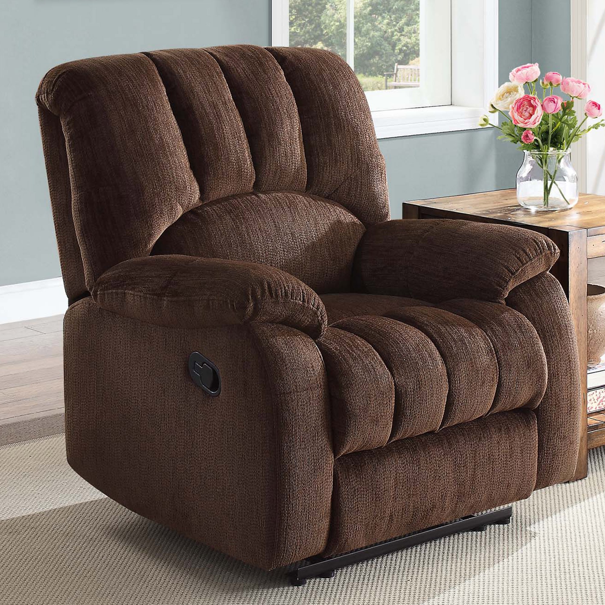 Delicieux Details About Recliner Chair Small Seat Pocketed Comfort Coils Brown Fabric  Home Furniture