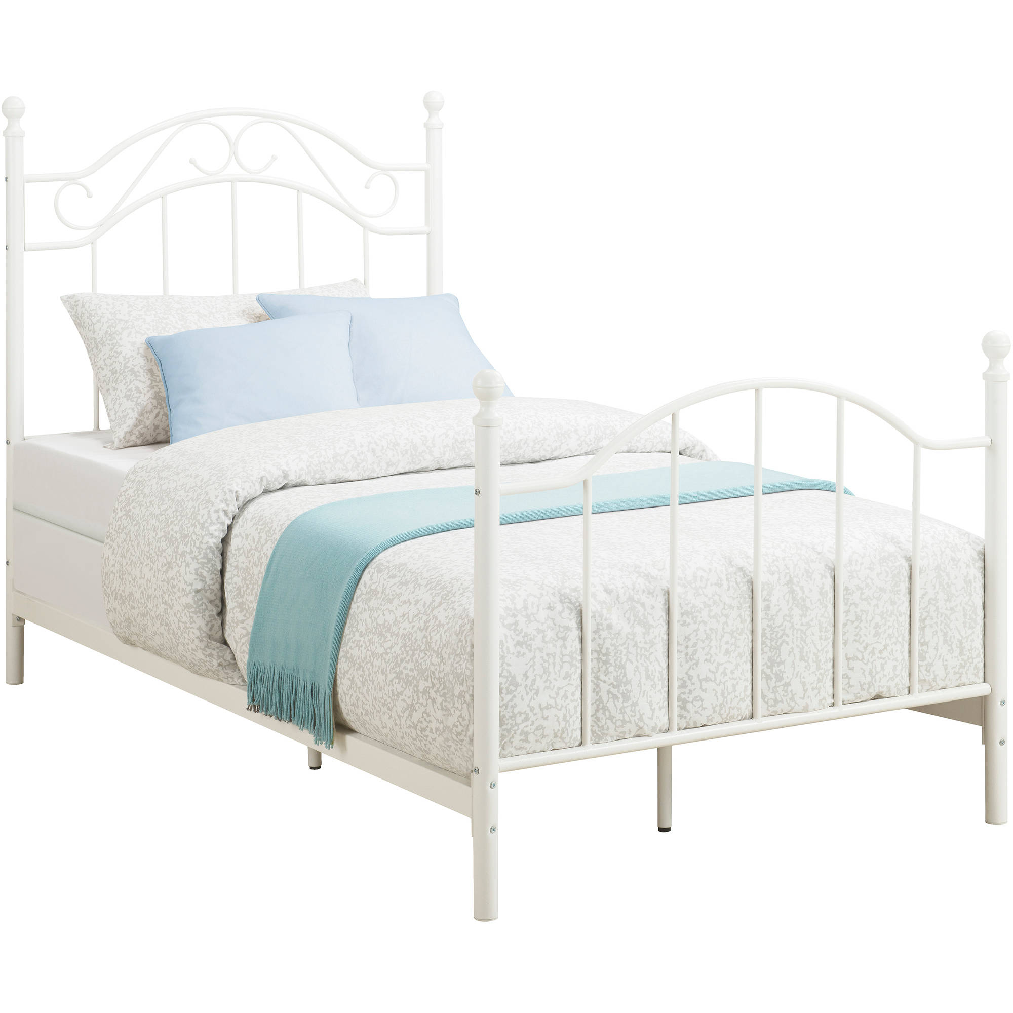 Twin Metal Bed Daybeds Frame Footboard Headboard Girls Bedroom White ...