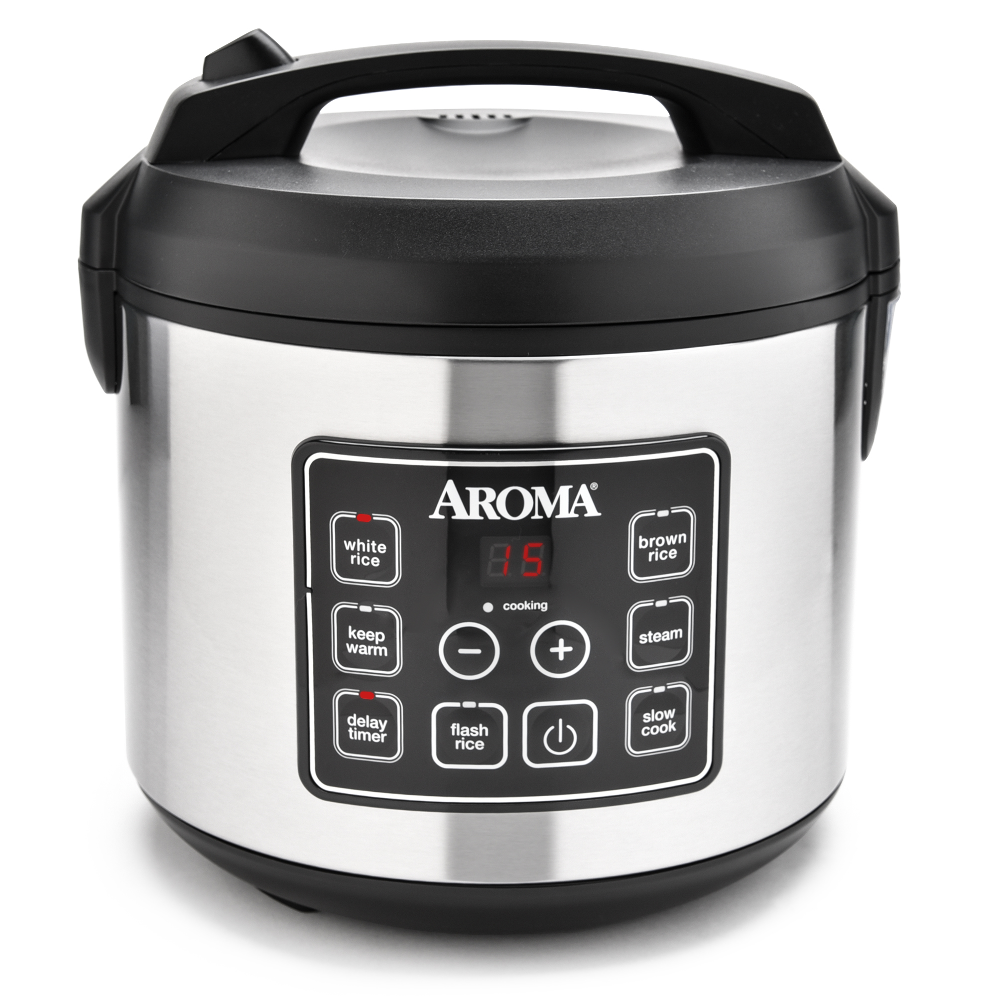 aroma 20 cup programmable rice cooker slow cooker and food steamer stainless ebay. Black Bedroom Furniture Sets. Home Design Ideas