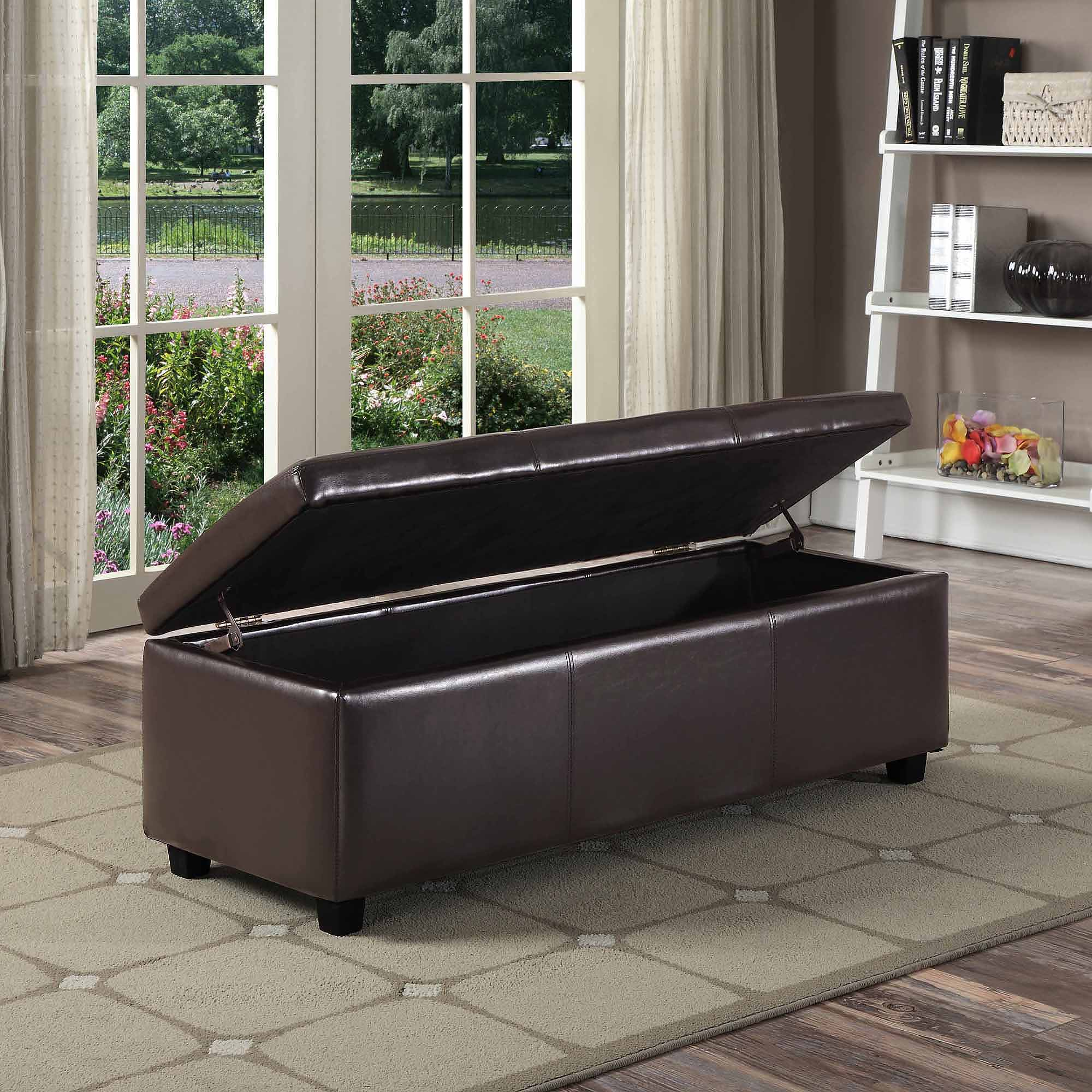 & Simpli Home Avalon Rectangular Faux Leather Storage Ottoman Bench | eBay