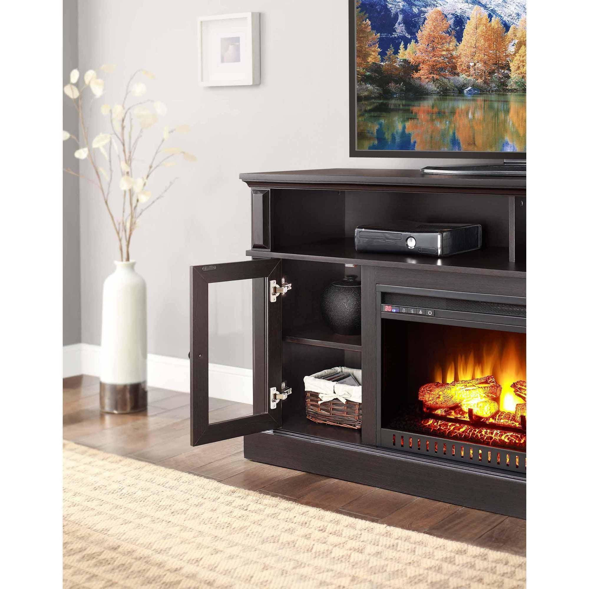 Fireplace Tv Stand 70 Quot Media Entertainment Storage Wood