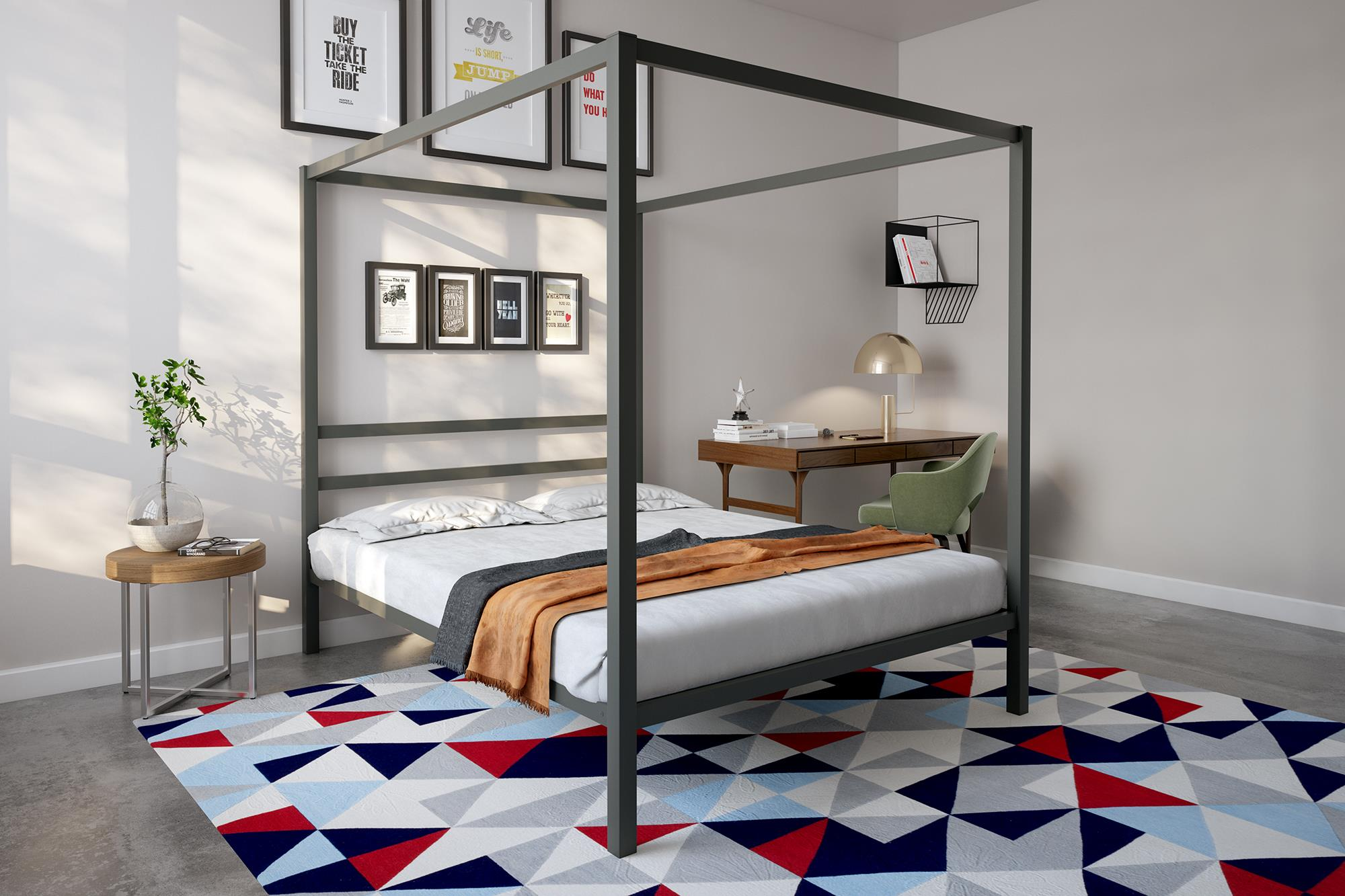- DHP Modern Canopy Bed, Gunmetal Gray, Multiple Sizes - Queen EBay