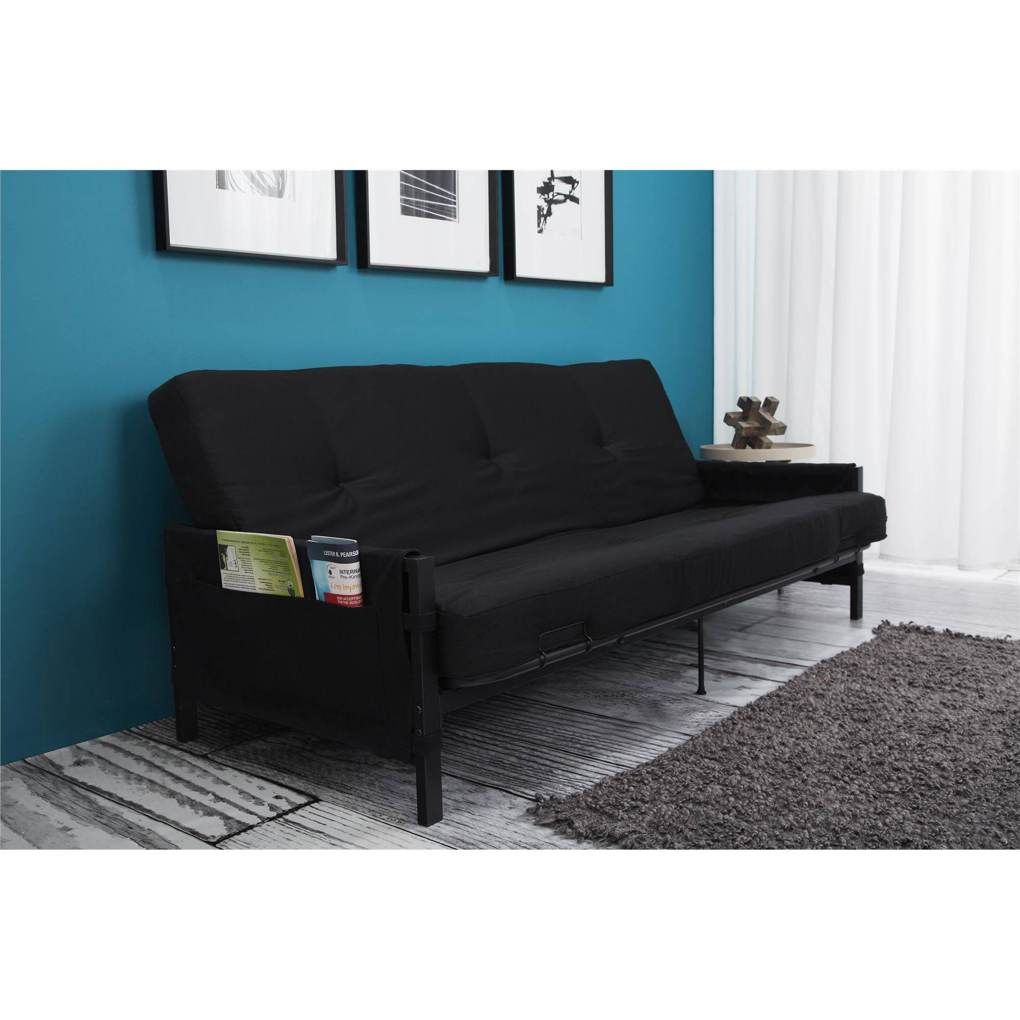 Cool Details About Full Size Futon W 6 Mattress Frame Black Storage Arm Convertible Couch Guest Creativecarmelina Interior Chair Design Creativecarmelinacom