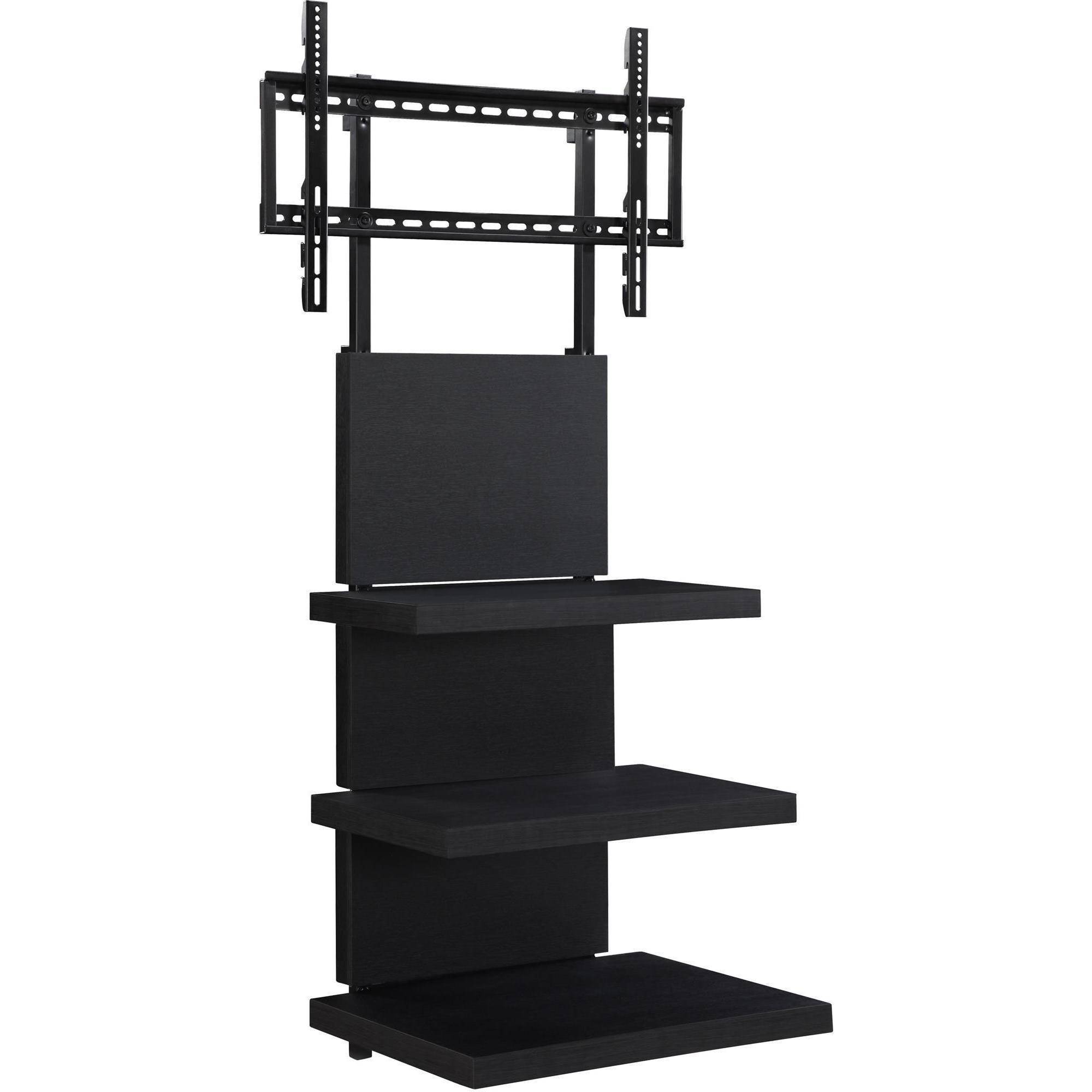 wall mount tv stand with 3 shelves black for tvs up to 60. Black Bedroom Furniture Sets. Home Design Ideas