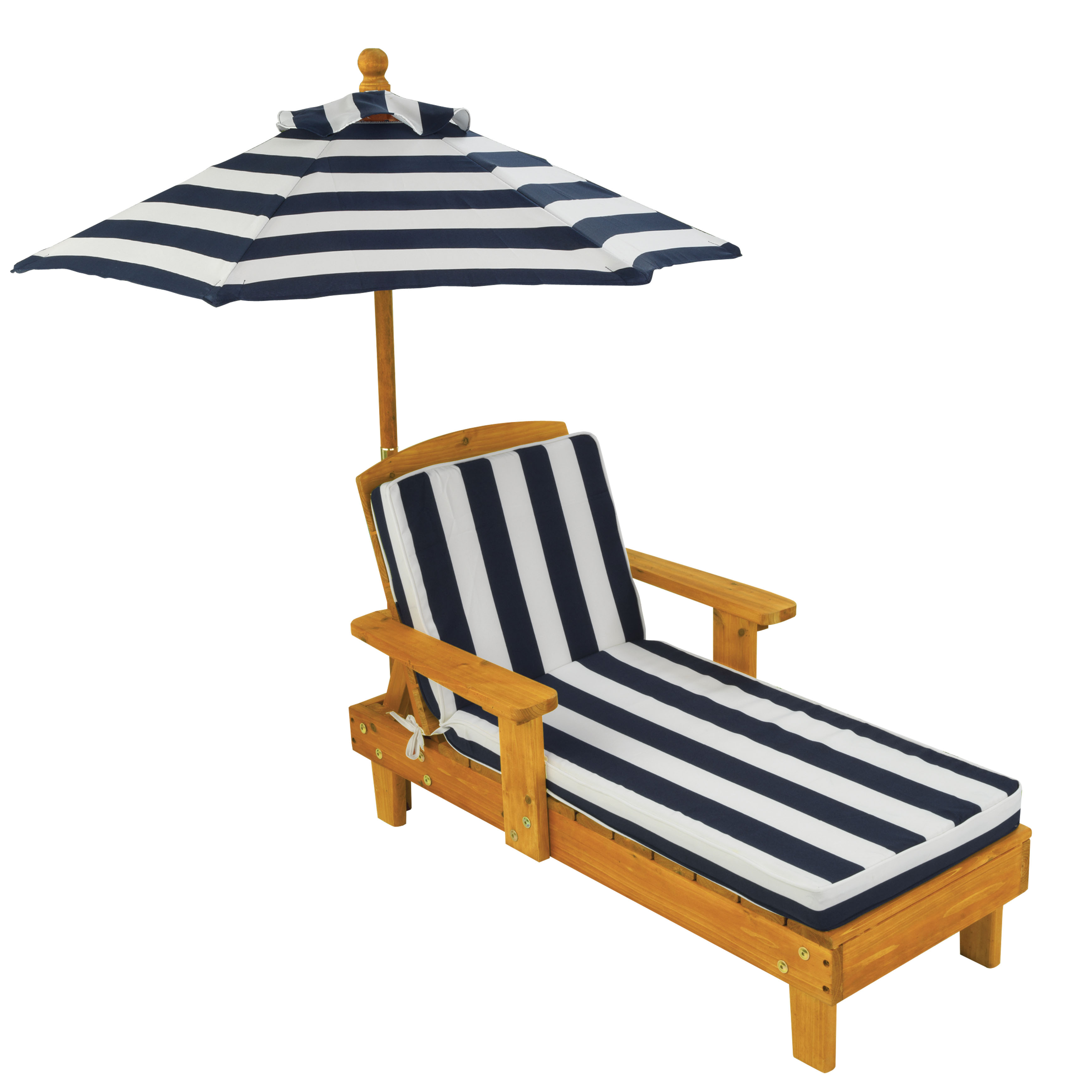 Kidkraft outdoor chaise lounge childrens chair with umbrella and cushion navy
