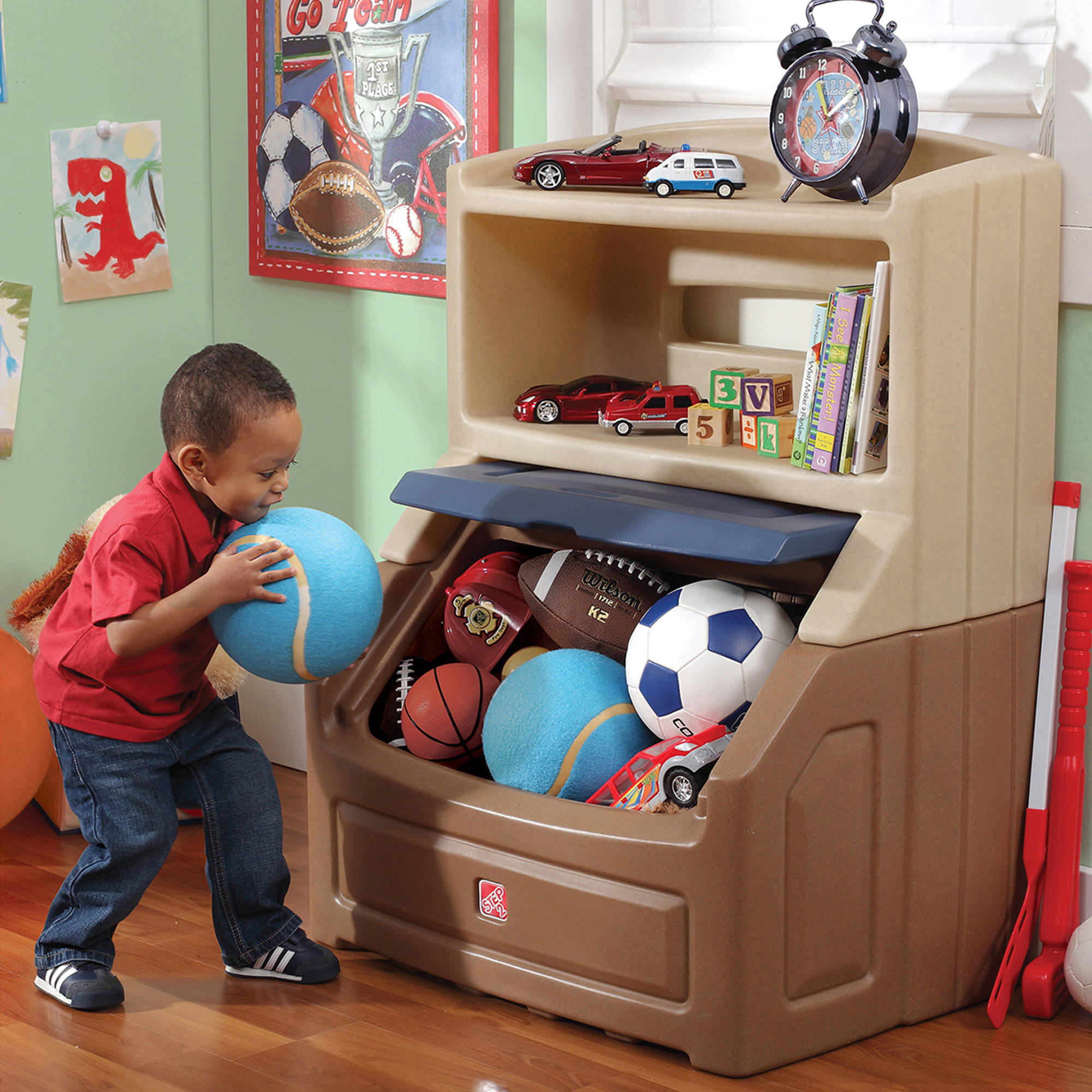 Kids Bookshelf Storage Boys Toy Chest