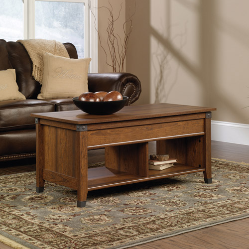 Lift Top Convertible Coffee Table Ottoman Milled Cherry