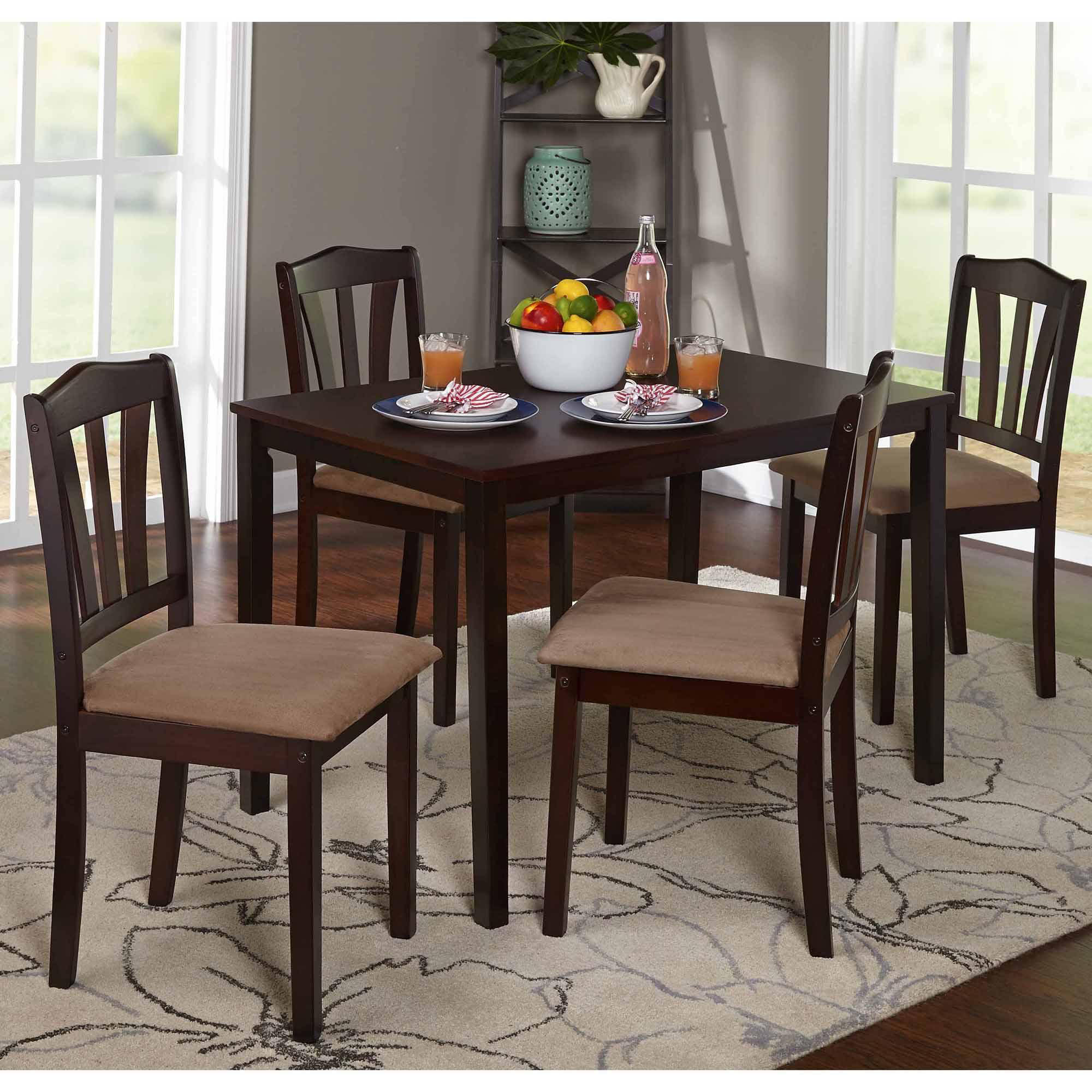 Details about 5 Piece Dining Set Wood Breakfast Furniture 4 Chairs and  Table Kitchen Dinette