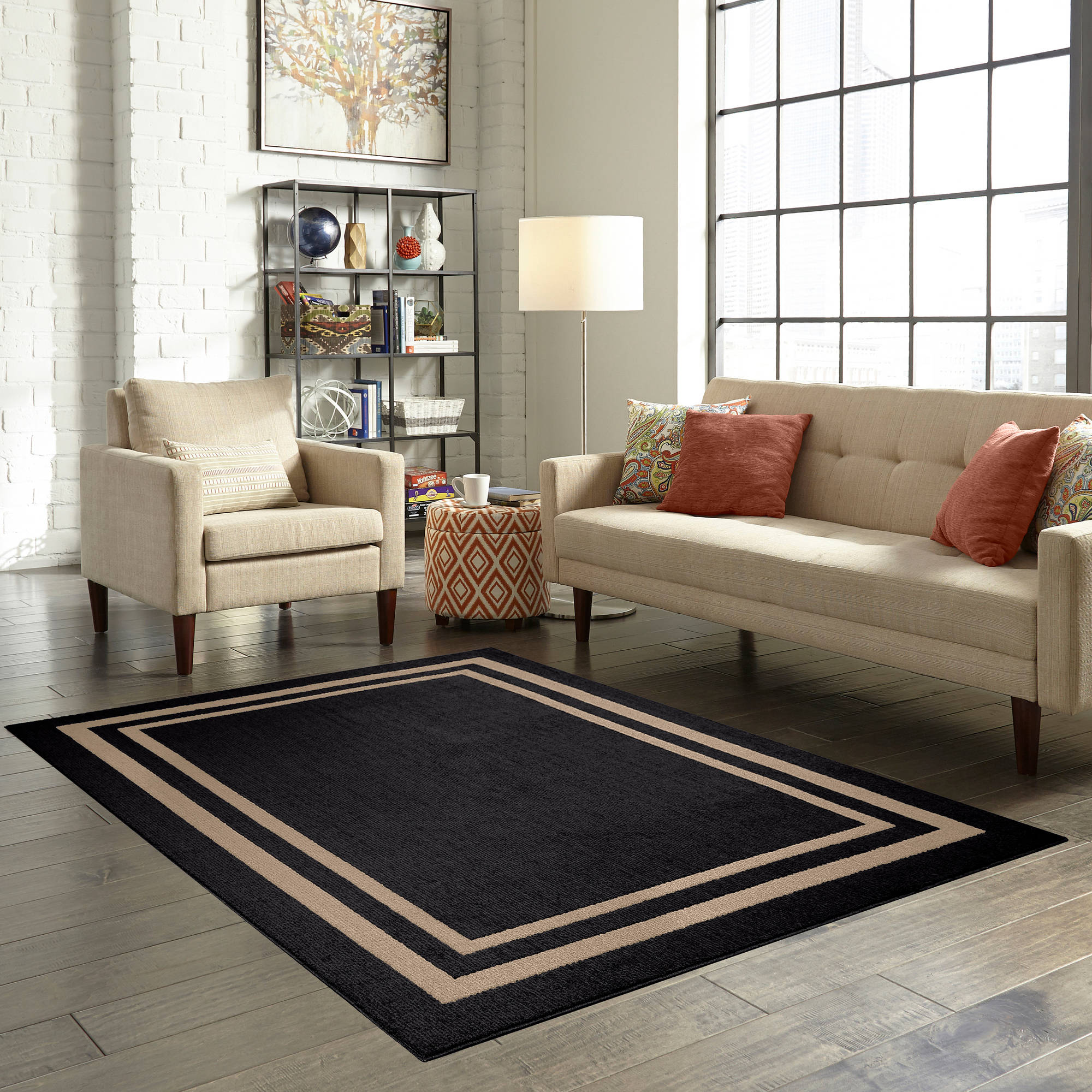 Mainstays Black Frame Border Area Rug 30in X 46in Ebay